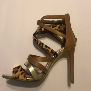 Aldo taupe and leopard sandals size 7